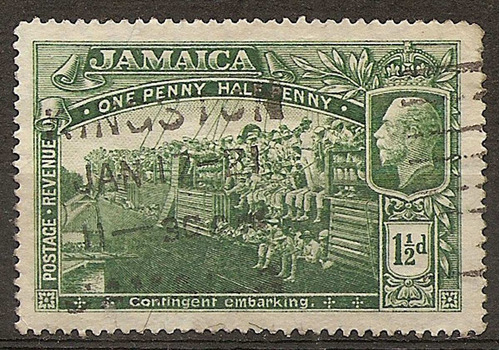 jamaica colonia inglesa antigua 1 valor usado año1919