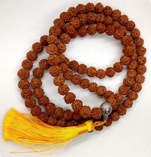 jamapala semente rudraksha grande 108 contas 9mm  amarelo