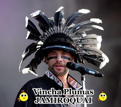 jamiroquai - vincha plumas negras - calidad premiun  !!