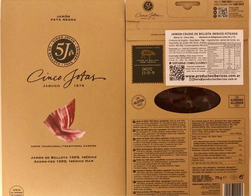jamón español de bellota en fetas 100% ibérico cincojotas 5j