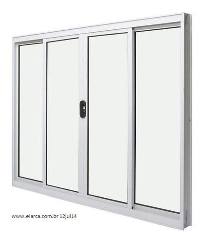 janela 4 folhas 1,00 x 1,20 sem grade alumínio branco