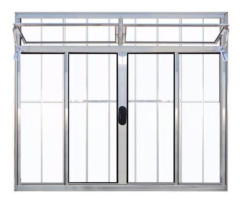 janela 4 folhas alumínio brilhante bandeira grade 120 x 120