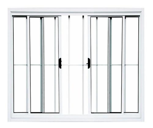 janela 4 folhas de alumínio branco com grade 1,00 x 2,00