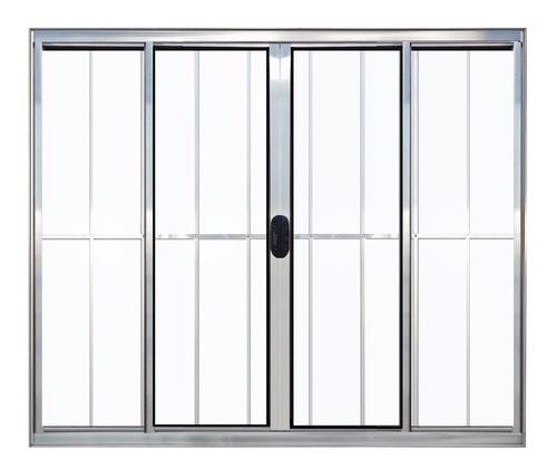 janela 4 folhas de alumínio brilhante com grade 1,00 x 1,00