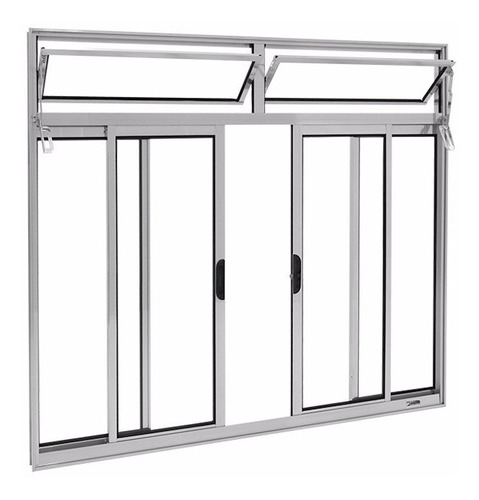 janela alumínio bco 4 folhas l-16 c/ bandeira s/gr 1.00x1.00