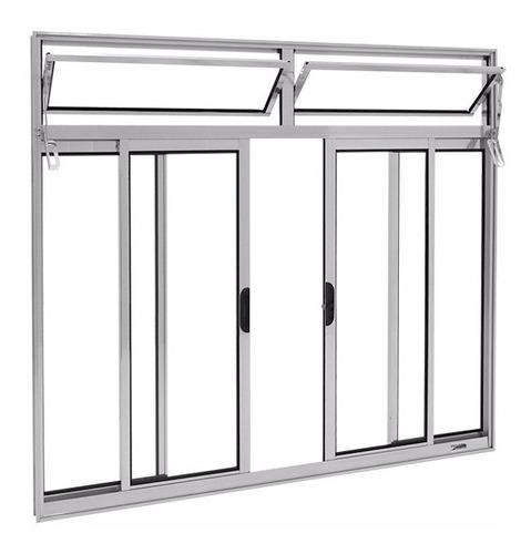 janela alumínio bco 4 folhas l-16 c/ bandeira s/gr 1.20x1.50