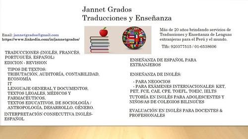 jannet grados traducciones