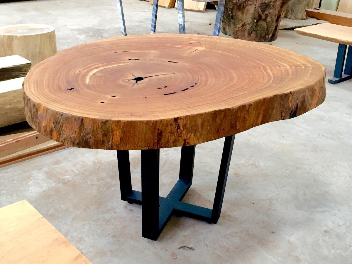 Mesa de jantar tronco redondo bolacha de tora em madeira - Mesa de tronco ...