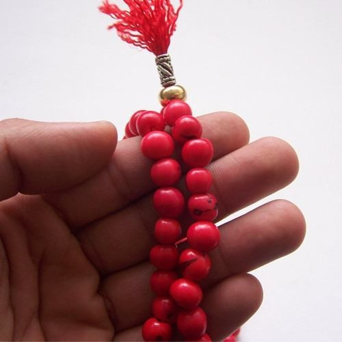 japa mala budista en color rojo semillas azahí tegua
