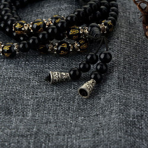 japamala budista tibetano pedra onix 108 contas om mani hum