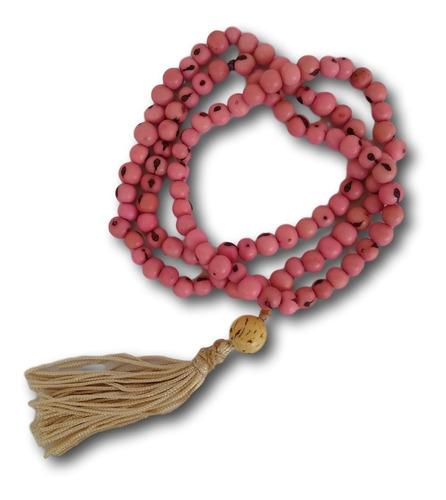 japamala com semente de açaí rosa 108 contas ref: 7639