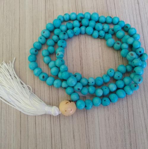 japamala  com semente de açaí turquesa 108 contas ref: 7904