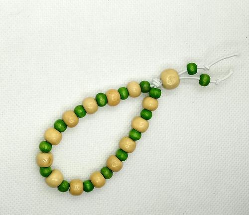 japamala madeira 108 contas franja verde + pulseira brinde