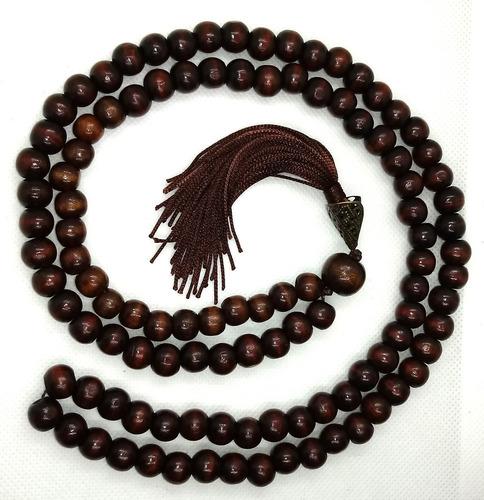 japamala marrom escuro 108 contas 10mm madeira 60cm + brinde