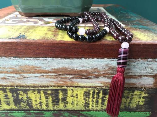 japamala maya, 8mm, granada, ágata preta e quartzo rosa