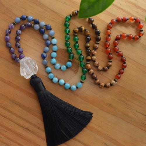 japamala  pedra natural 7 chakras 108 contas reiki yoga