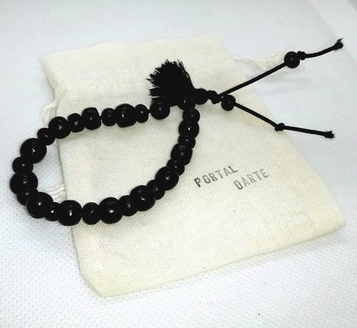japamala preto madeira franja preta 108/8 + pulseira à vista