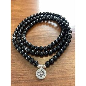 Japamala Turmalina Negra Pedra Natural 108 Contas
