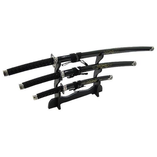 japanese samurai 3-piece black set de espadas