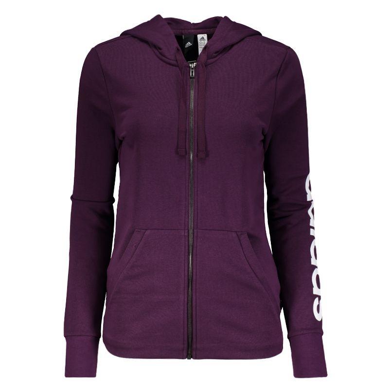 de4b459d0a5 jaqueta adidas linear essentials com capuz feminina roxa. Carregando zoom.