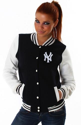 jaqueta blusa casaco baseball ny bordado college americana