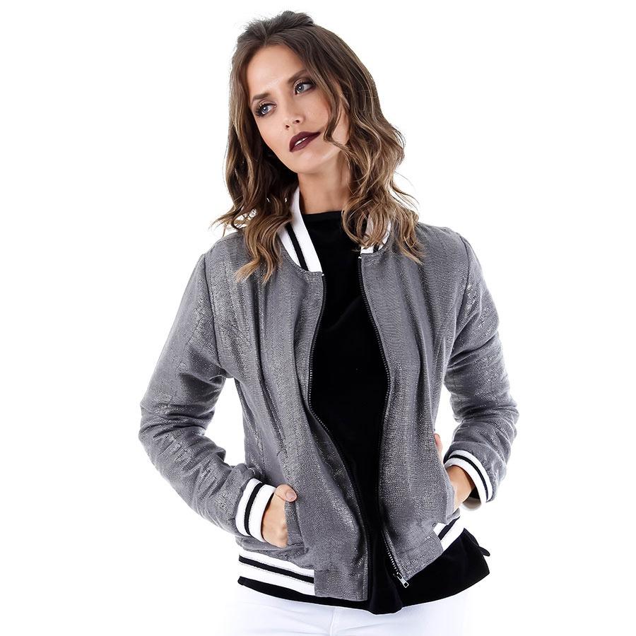 5fdc401a269 Jaqueta Bomber Feminina Brenda Lee - Prata - R$ 149,99 em Mercado Livre