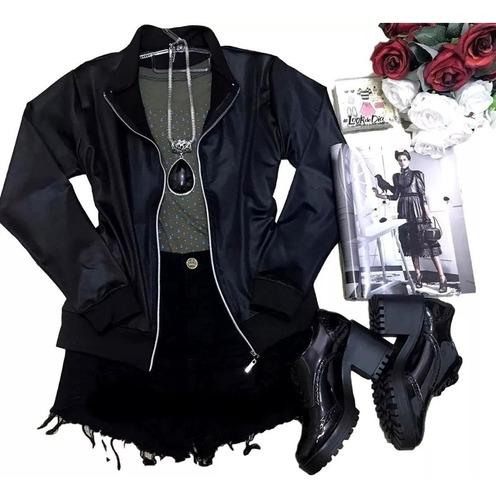 jaqueta bomber feminina em cirrê couro fake inverno ref 439