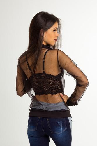 jaqueta bomber feminina transparente tule preta branca roupa