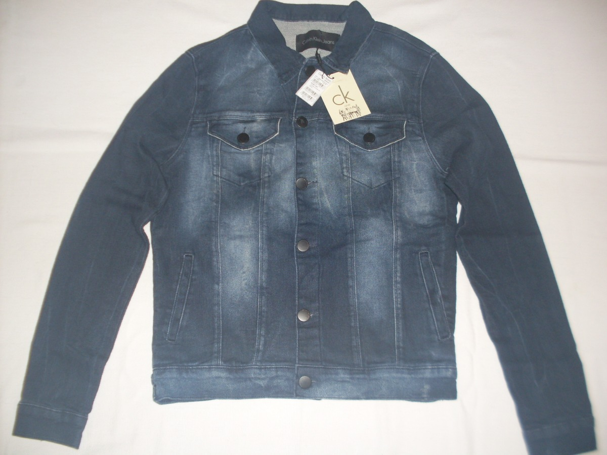 bab630e44 jaqueta calvin klein - premium stoned blue jeans - slim fit. Carregando  zoom.