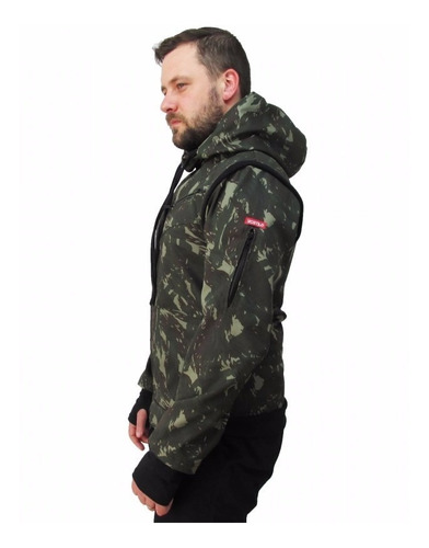 jaqueta camuflada masculina 2 em 1 - jaqueta vira colete
