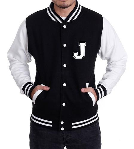 jaqueta college masculina universitária colegial - letra j