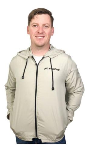 jaqueta corta vento masculina com capuz - cor caqui
