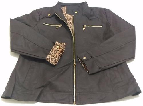 jaqueta couro ecologico feminina pluz size an-9