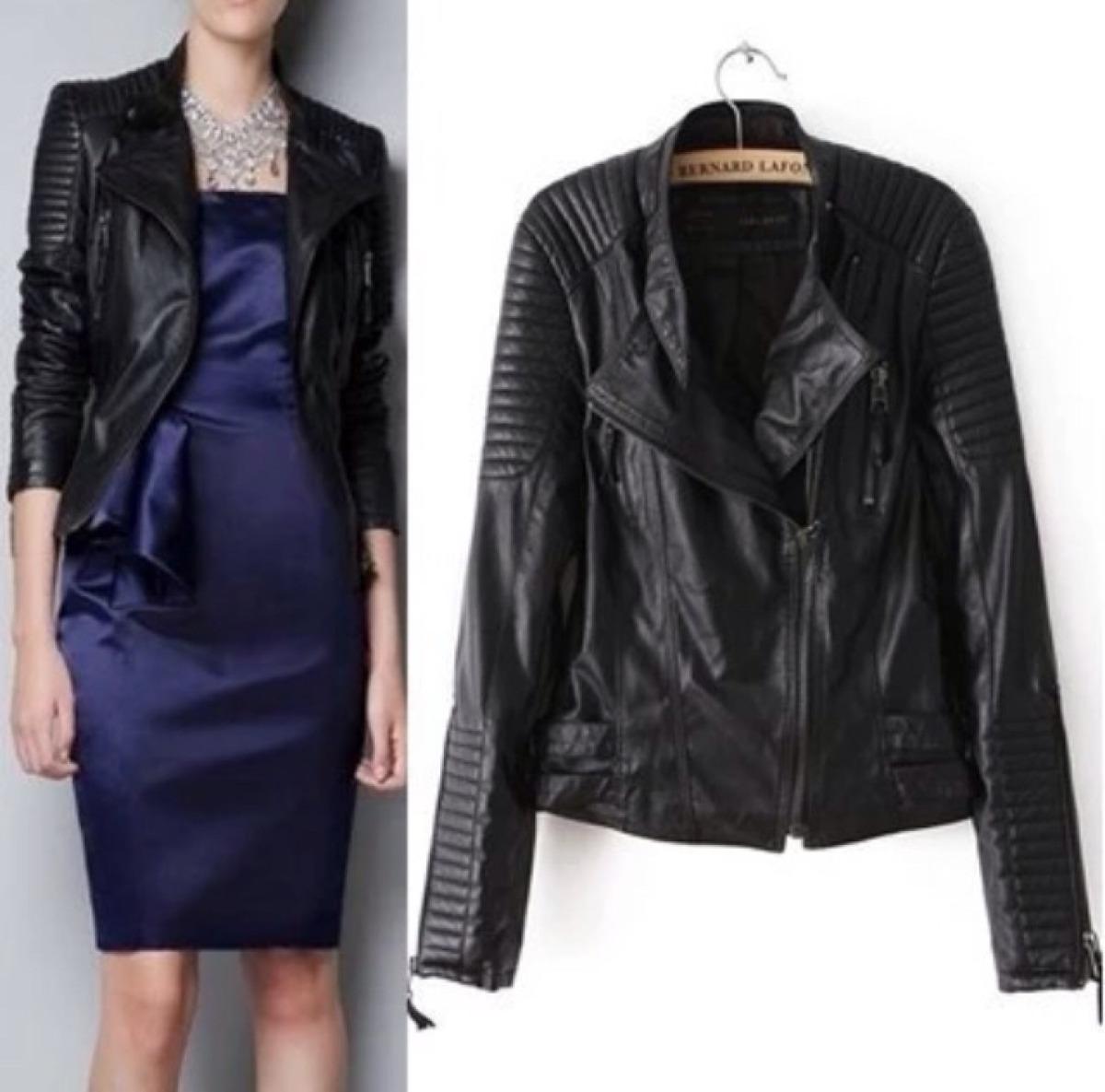 jaqueta couro feminina preta m pronta entrega. Carregando zoom. 43d577f92a0