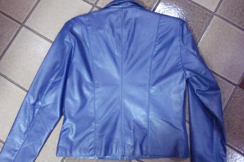 jaqueta couro  legítimo cor azul
