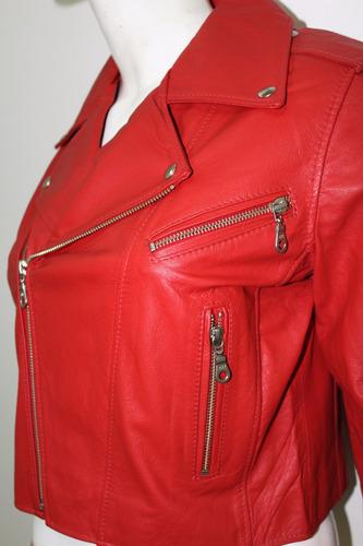 jaqueta couro legítimo vermelha com bolsos feminina x4010