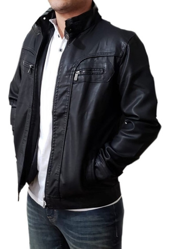 jaqueta couro masculina slim fit importada impermeável top