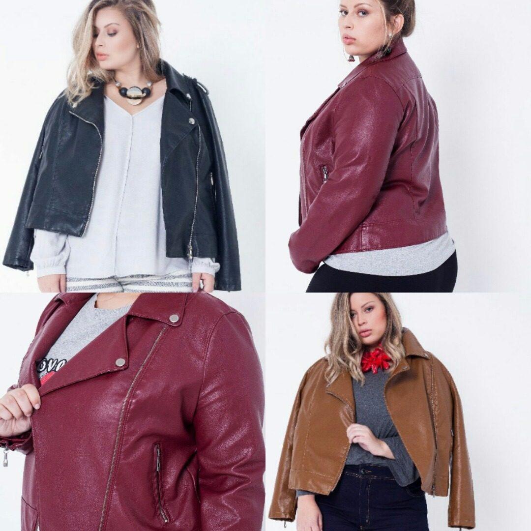 183ce2943 jaqueta couro plus size moda feminino tamanhos 46 a 54. Carregando zoom.