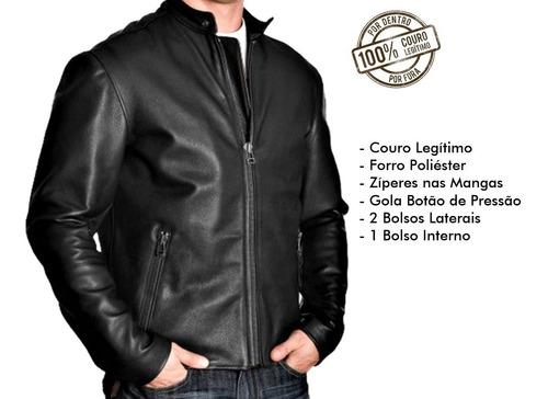 jaqueta de couro bovino legítimo masculina keith