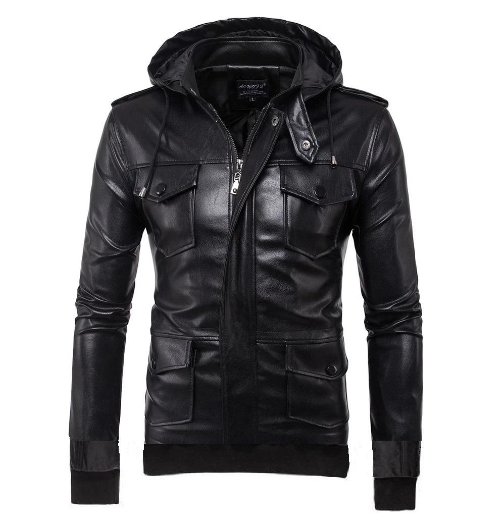 5962054991 jaqueta de couro capuz removível forro de veludo motoqueiro. Carregando  zoom.