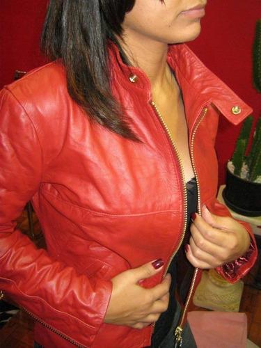 jaqueta de couro feminina vermelha eternya-cuoio r$ 690,00