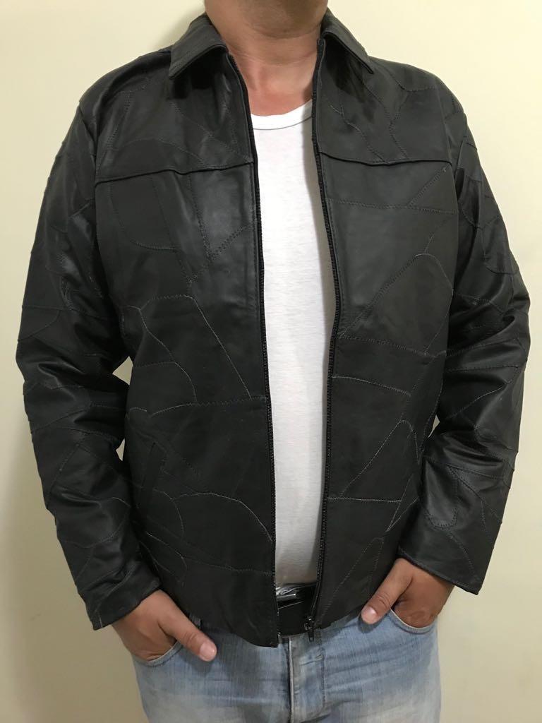 bb4ba85fc jaqueta de couro legítimo bovino em retalhos masculino. Carregando zoom.