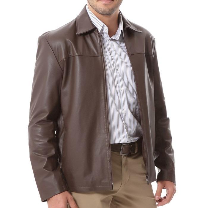 Jaqueta De Couro Legítimo Marrom Masculina Comprida X125 - R  499 ab7c438ce2269