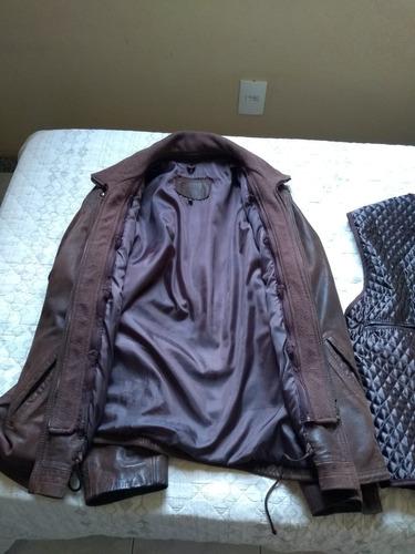 jaqueta de couro legítimo marrom xl (usada)