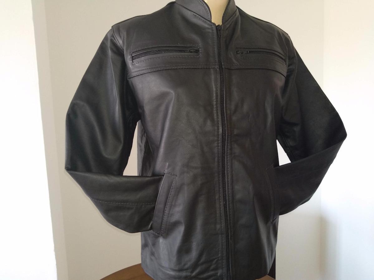 jaqueta de couro legitimo masculina ziper 4 bolsos frontais. Carregando  zoom. d612d5846b0