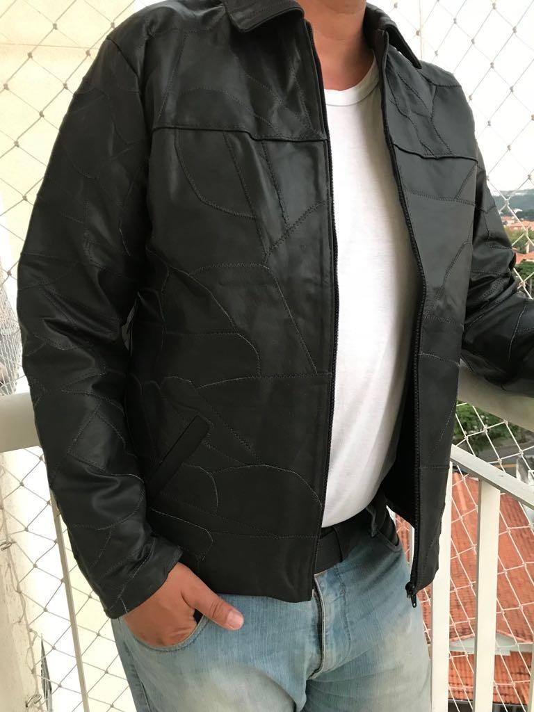 03ff50072 jaqueta de couro masculina retalhos couro legítimo importada. Carregando  zoom.
