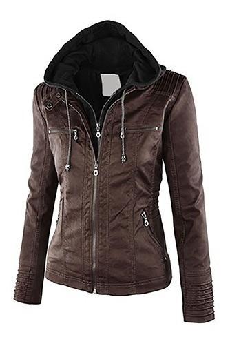 jaqueta feminina couro ecológico com capuz em moleton