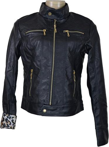 jaqueta feminina de couro ecológico frio inverno