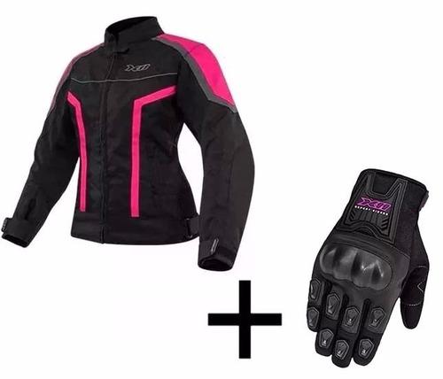 jaqueta feminina guard x11 moto + luva blackout x11