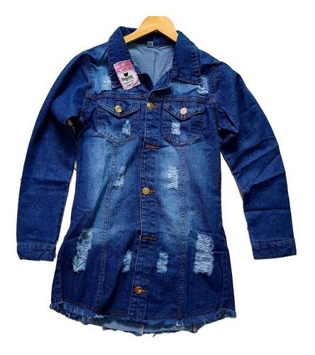 jaqueta feminina jeans rasgada botoes  comprida